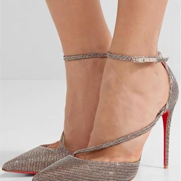 Christian Louboutin FLIKETTA 100 Asymmetric Chain Glitter Pumps Heels Shoes $795