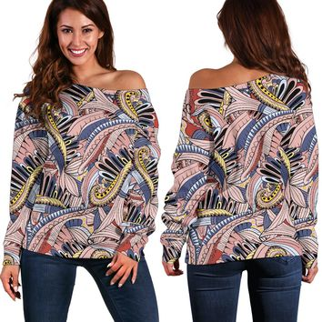 Funky Patterns in Pinks - Women's Off Shoulder Sweater