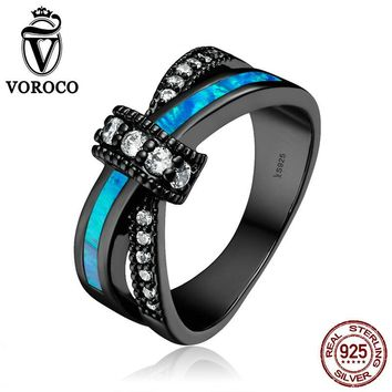 VOROCO Authentic 925 Sterling Silver Clear CZ Geometric Opal Gem Blue Finger Rings for Women Wedding Jewelry Gift VSR068