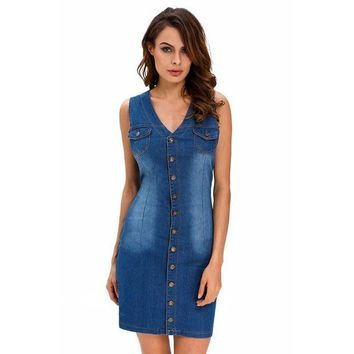 LCMFON Women Denim Sexy Mini Dress Sleeveless Buttons Down Vintage Retro Slim Bodycon Deep V Neck Jeans Dresses Ladies Short Tank Dress