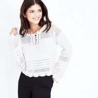 Cream Eyelet Lace Up Pointelle Jumper   New Look