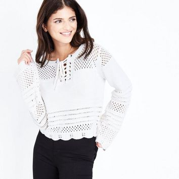 Cream Eyelet Lace Up Pointelle Jumper | New Look