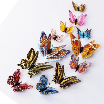 12pcs 3D Butterfly Design Decal Art Wall Stickers Room Magnetic Home Decor Perfect Present