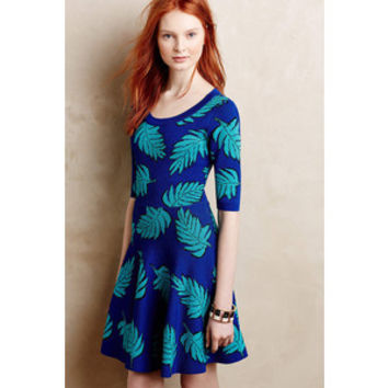 Tracy Reese 'Lisa' Leaf Print Fit & Flare Sweater Dress