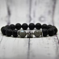 beaded men bracelet friend birthday gift for him brother present men black agate bracelet hipster bracelet groomsmen stretch bracelet father