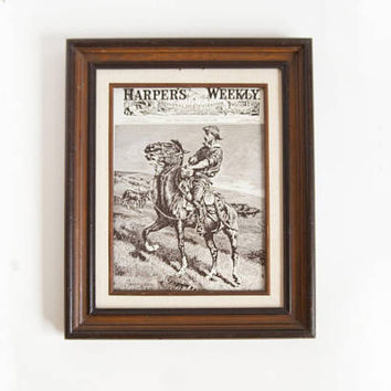 "Vintage Frederic Remington ""Harpers Weekly"" Cowboy Print, Wood Etching Board, Western Horse Art"