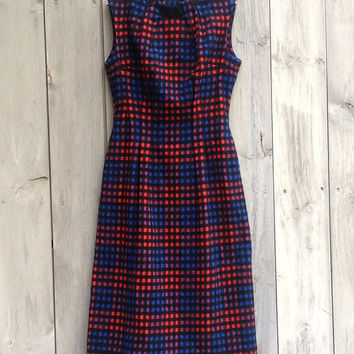 Vintage dress | Blue, red and black checked midi dress