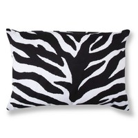 Zebra Decorative Pillow - Black/White (Oblong)