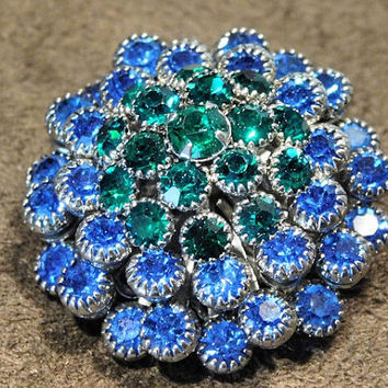 Rhinestone Brooch Mid Century Tiered Domed Glass Rhinestone Brooch Pin Emerald Green Sapphire Blue Rhinestones Wedding Bride Bridal Jewelry