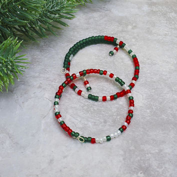 Christmas Bangle Bracelet - Morse Code Message - Holiday Party Jewelry - Bracelet Under 20 - Office Party Gift Ideas - Christmas Jewelry