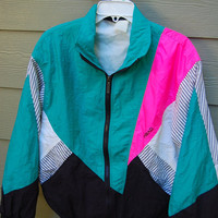 Vintage 80s Neon Pink Aqua Black & Seersucker Pinstripe Head Oversize Puffy Nylon Jacket Windbreaker Windsuit Size Medium