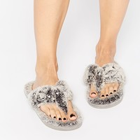 River Island Diamate Grey Flip Flop Slippers