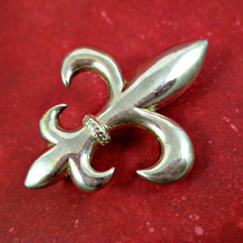 Vintage Fleur de Lis Sterling Silver Pin Brooch Pendant Collar Clip All In One Very Nicely Crafted Solid Weight Not flimsy Classic Elegance