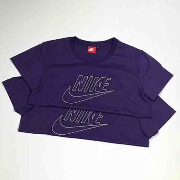 Nike Stylish Women Men Casual Short Sleeve Round Collar Purple Pullover T-Shirt Top I-XMCP-YC