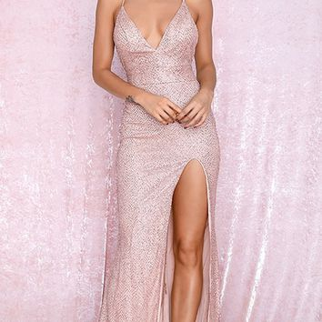Stairway To Heaven Beige Rose Gold Glitter Sleeveless Crisscross Spaghetti Strap Plunge V Neck High Slit Maxi Dress