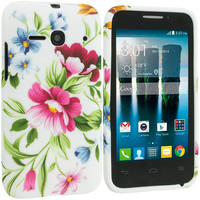 Flower Painting TPU Design Rubber Skin Case Cover for Alcatel One Touch Evolve 2