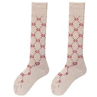 DCCK GUCCI autumn and winter tide brand female wild double knit tube leg socks Silver + coffee