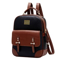Vintage Backpack Synthetic Leather Shoulder Backpack for Girls and Women