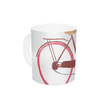 "Alik Arzoumanian ""Bike"" White Pink Ceramic Coffee Mug"
