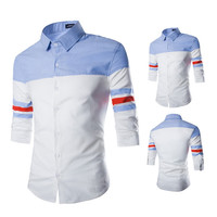 Half Sleeve Color Block Men's New Design Slim Fit Shirt