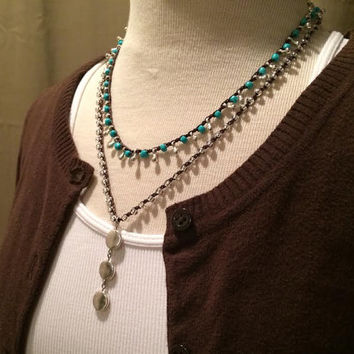Double Strand, Crochet Necklace, Boho Necklace, Turquoise and Silver, Country Necklace, Beaded Necklace