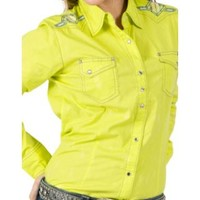 Rock 47 by Wrangler Women's Lime with Embroidery Long Sleeve Western Shirt
