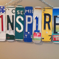INSPIRE SIGN Recycled - Repurposed - Upcycled INSPIRE License Plate Wall Hanging