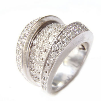 Vintage Diamond Encrusted Ring 1.69 ct Pave Brilliant Cut Diamonds 14k White Gold VS1-VS2 Cocktail Ring, Wedding Ring