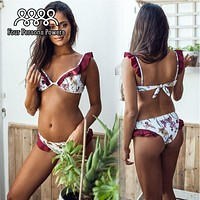 Four Persons Powers Lace Patchwork Bikini Sexy Push Up Swimwear Women Bathing Suit Solid 2017 NK115