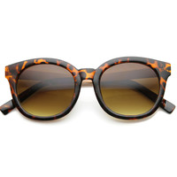 Women's Round Two Tone Horned Rim Sunglasses 9806