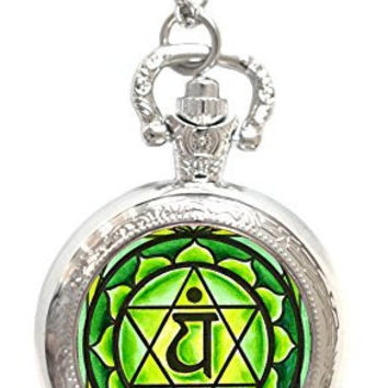 4th Chakra Green Anahata Heart Silver Necklace Pocket Watch