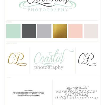 Pre-Made One of a Kind Coastal Logo Branding Package Gold Mint Coral Slate Blush Sand