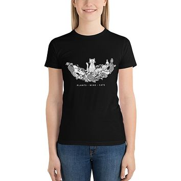 Plants, Wine, Cats Short Sleeve Women's T-Shirt