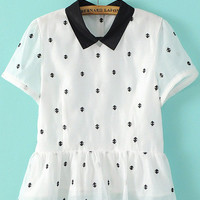 Black and White Collar Embroidered Peplum Blouse