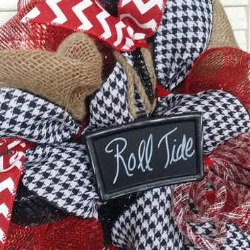 Alabama Wreath Roll Tide Wreath Crimson Tide Wreath Alabama Decor Alabama Tailgating Decor Alabama Houndstooth Wreath March Madness Bama