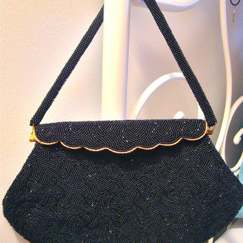 ON SALE Art Deco Black Bead Handbag - Seed Beads and Fold Top