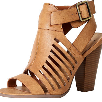 Delicious By Soda Yummy Cutout Stacked Heel Sandal Tan Pu 6 B(M) US '