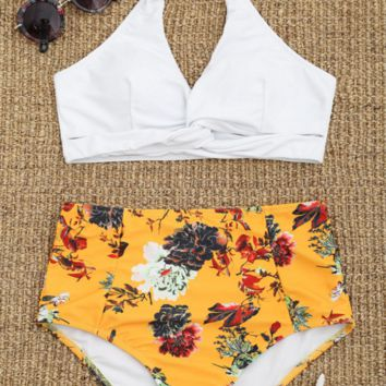 Fashion white yellow high waist two piece bikinis swimwear bathsuit