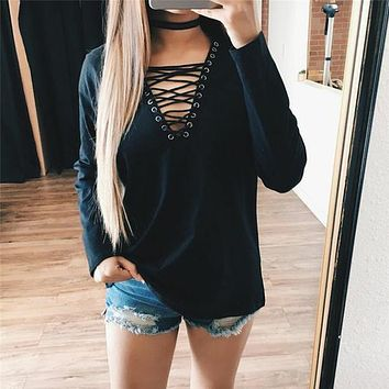 Woman Blouse Shirt Women Deep V Neck Lace Up Shirts Sexy Bodycon Bandage Blouses Casual Loose Shirt Blusas Top
