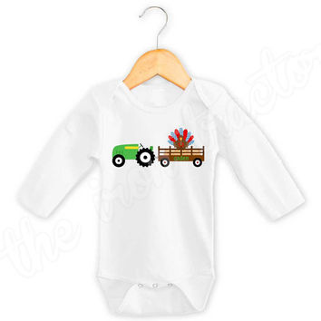 Green Tractor with Blue & Red Turkey in Wagon Shirt or Onesuit ~  Thanksgiving Digital Iron On ~ Turkey ~ Fall
