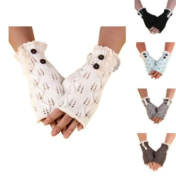 Knitted Button Hollow Out Leaf Warm Lace Knitting Winter Gloves Women Girl