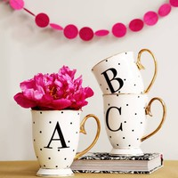 Black And Gold Spotty China Letter Mug