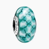 Women's PANDORA 'Teal Lattice' Murano Glass Bead Charm - Sterling Silver/ Teal