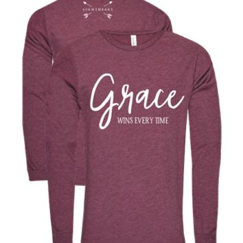 Southern Couture Lightheart Grace Wins Christian Triblend Front Print Long Sleeve T-Shirt