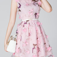 Pink Butterfly Print Applique Belted A-Line Dress