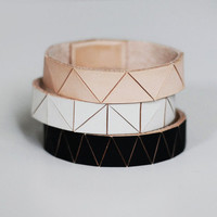 Hand Painted Leather Bangles in Matte Black, Bone White, and Natural Geometric Patterns, Set of Three Stacking Bracelets (made to order)