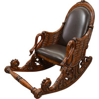 AFD Home Mahogany Swan Rocking Chair