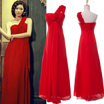 Grace Karin A-line One Shoulder Wedding Party Cocktail Celebrity Prom Formal Dress Long Robe de Soiree = 1956883396
