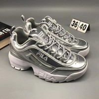 FILA Fashion Women Running Sport Casual Thick Soles Sneakers Shoes Silver I-CSXY