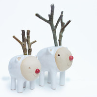 Two Reindeer Friends with Wooden Horns - Modern White Christmas Decor